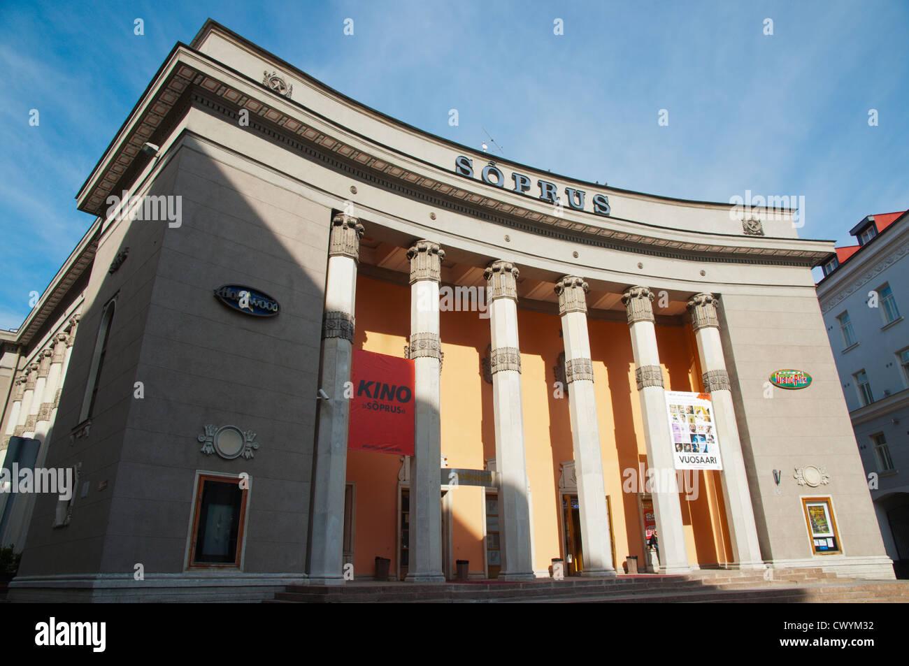 Stalinist era building now housing Soprus cinema old townTallinn Estonia Europe - Stock Image