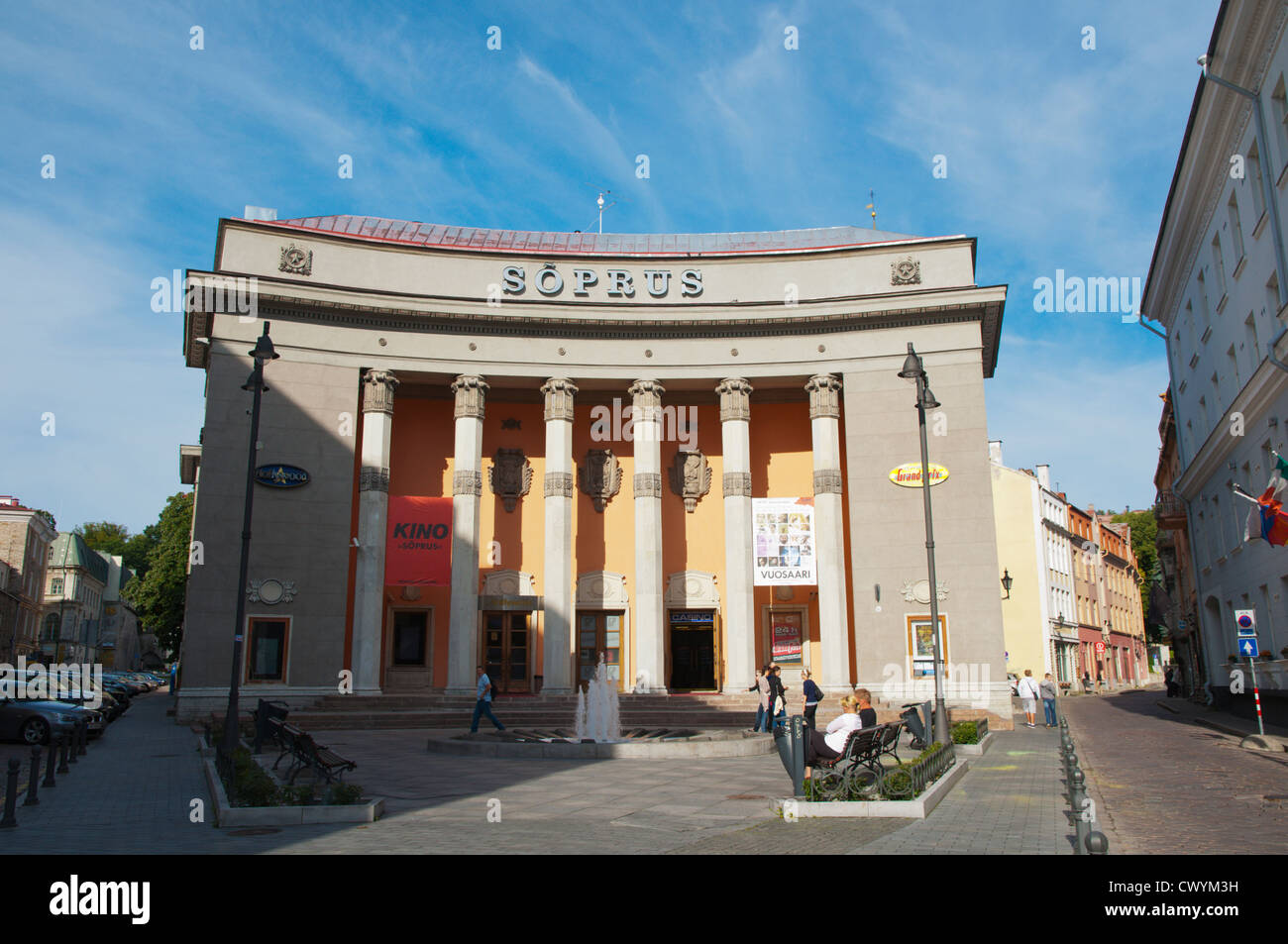 Stalinist era building now housing Soprus cinema old townTallinn Estonia Europe Stock Photo