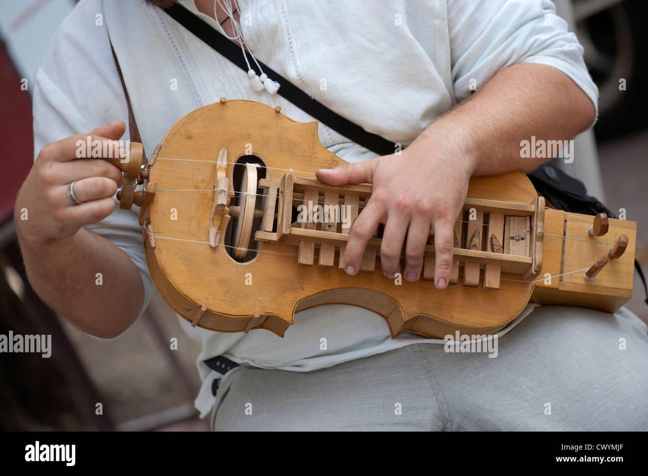 Man playing lyre, Kiev, Ukraine, Europe - Stock Image