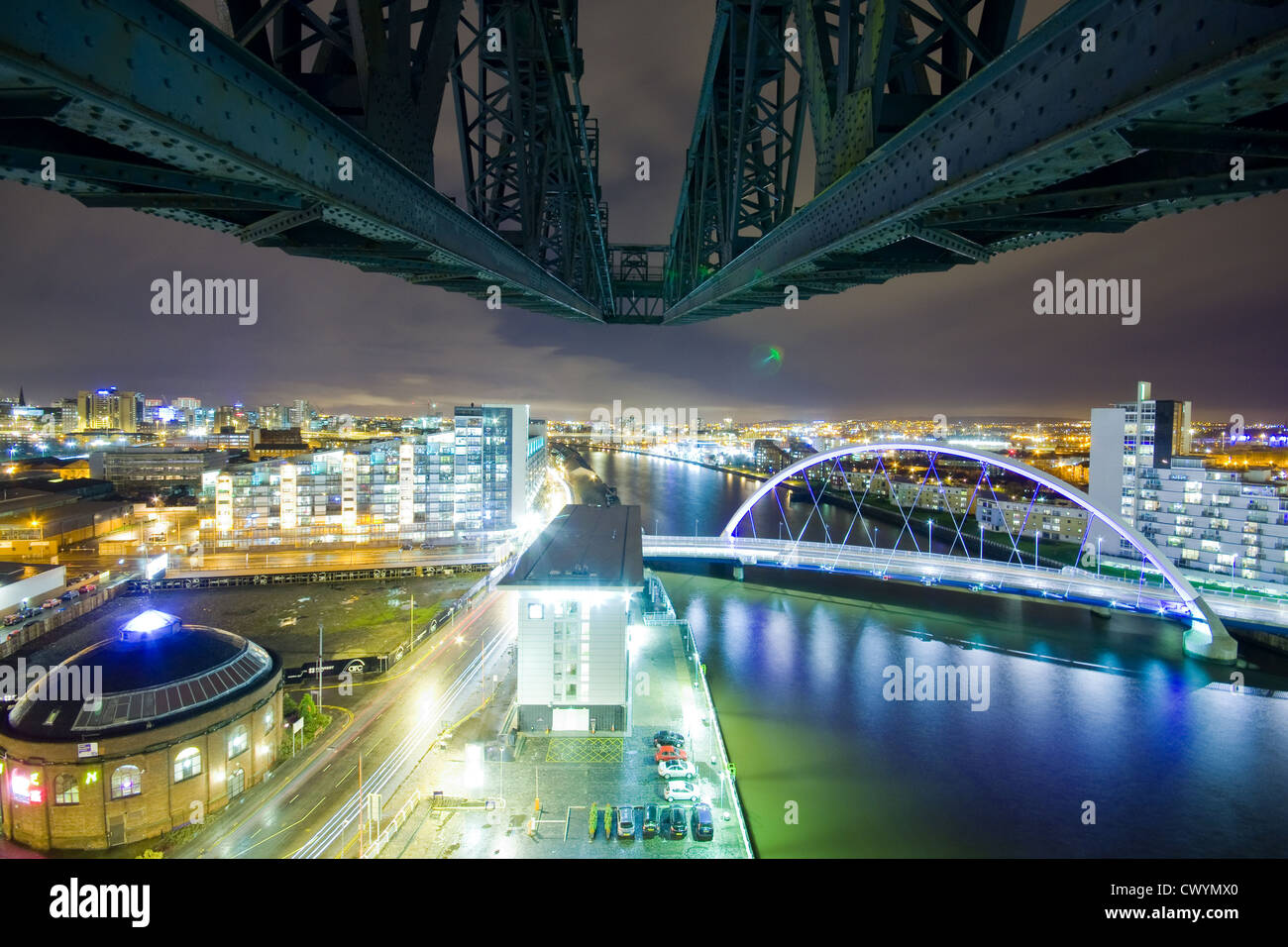 The view from the Finnieston Crane in Glasgow - Stock Image