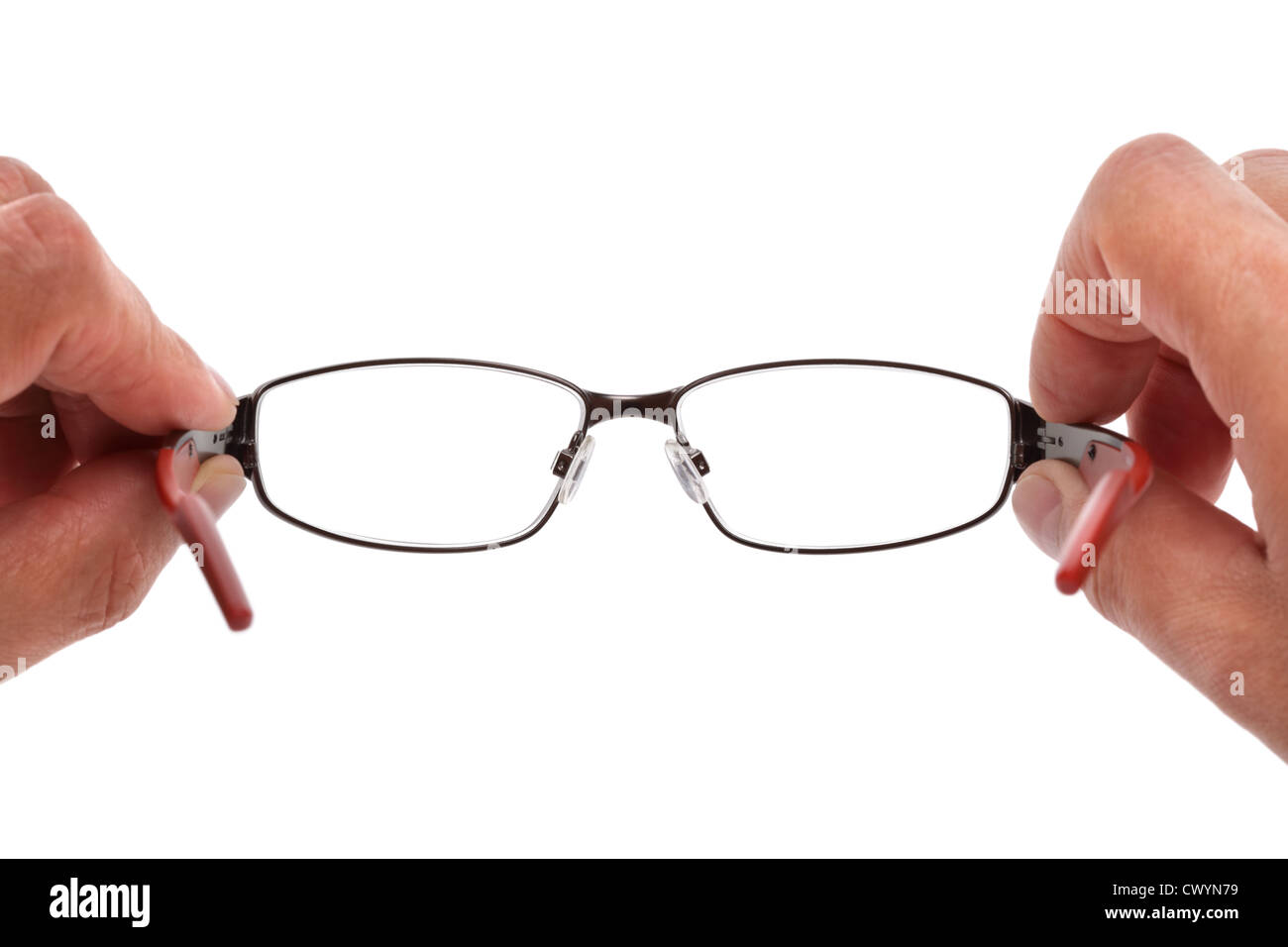 Holding spectacles - Stock Image
