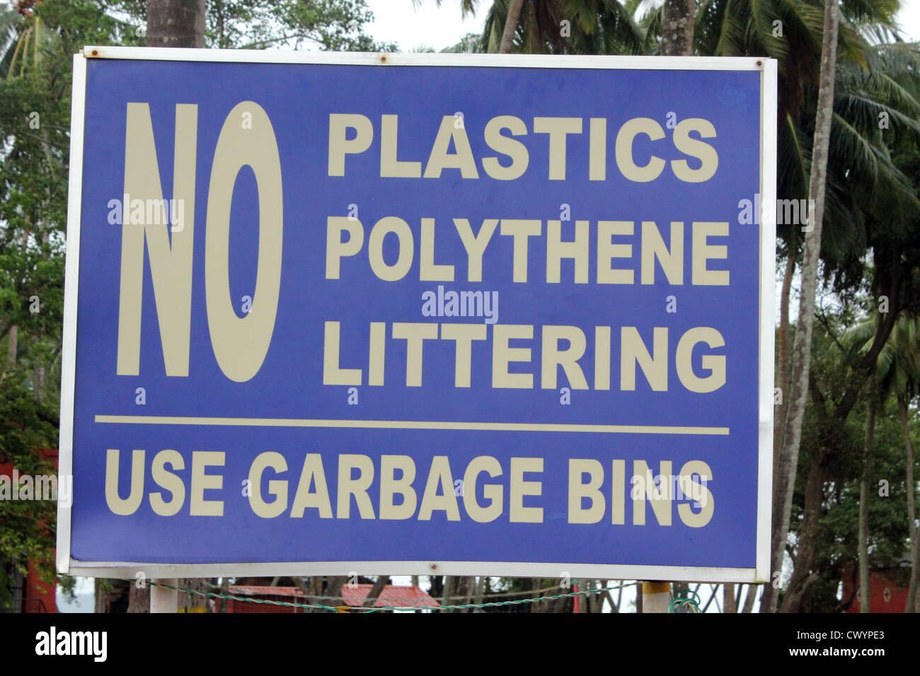 No Littering sign at Ross islands , Andaman and Nicobar islands, India - Stock Image