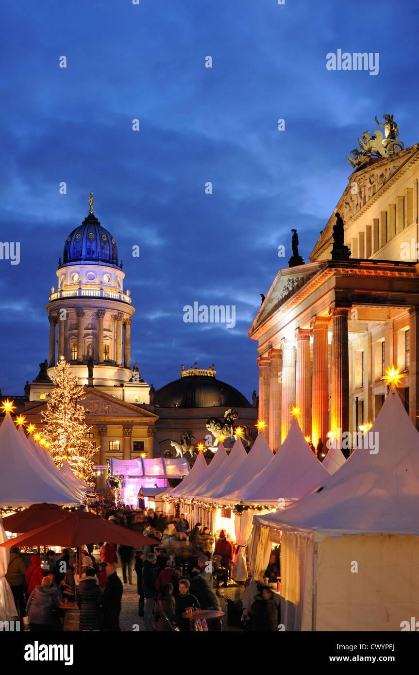 Winterzauber, Christmas market on Gendarmenmarkt square, Schauspielhaus, Deutscher Dom cathedral, Berlin, Germany, - Stock Image