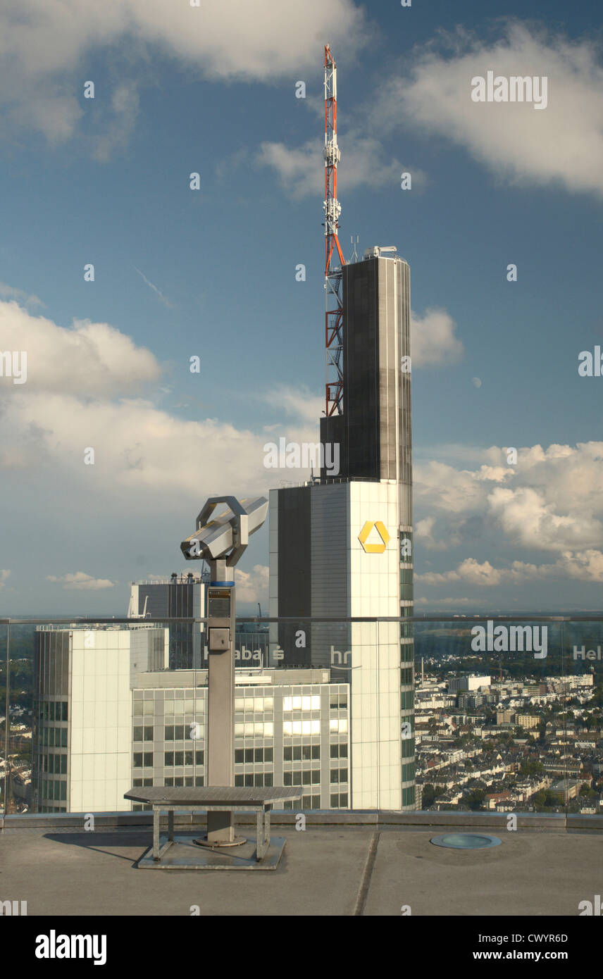 Commerzbank Tower from the observation platform of Main Tower, Frankfurt am Main, Hesse, Germany, Europe Stock Photo
