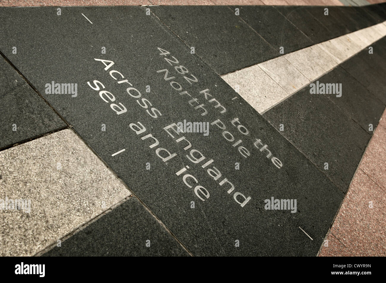 Directional paving stone, London, England, Great Britain, Europe - Stock Image
