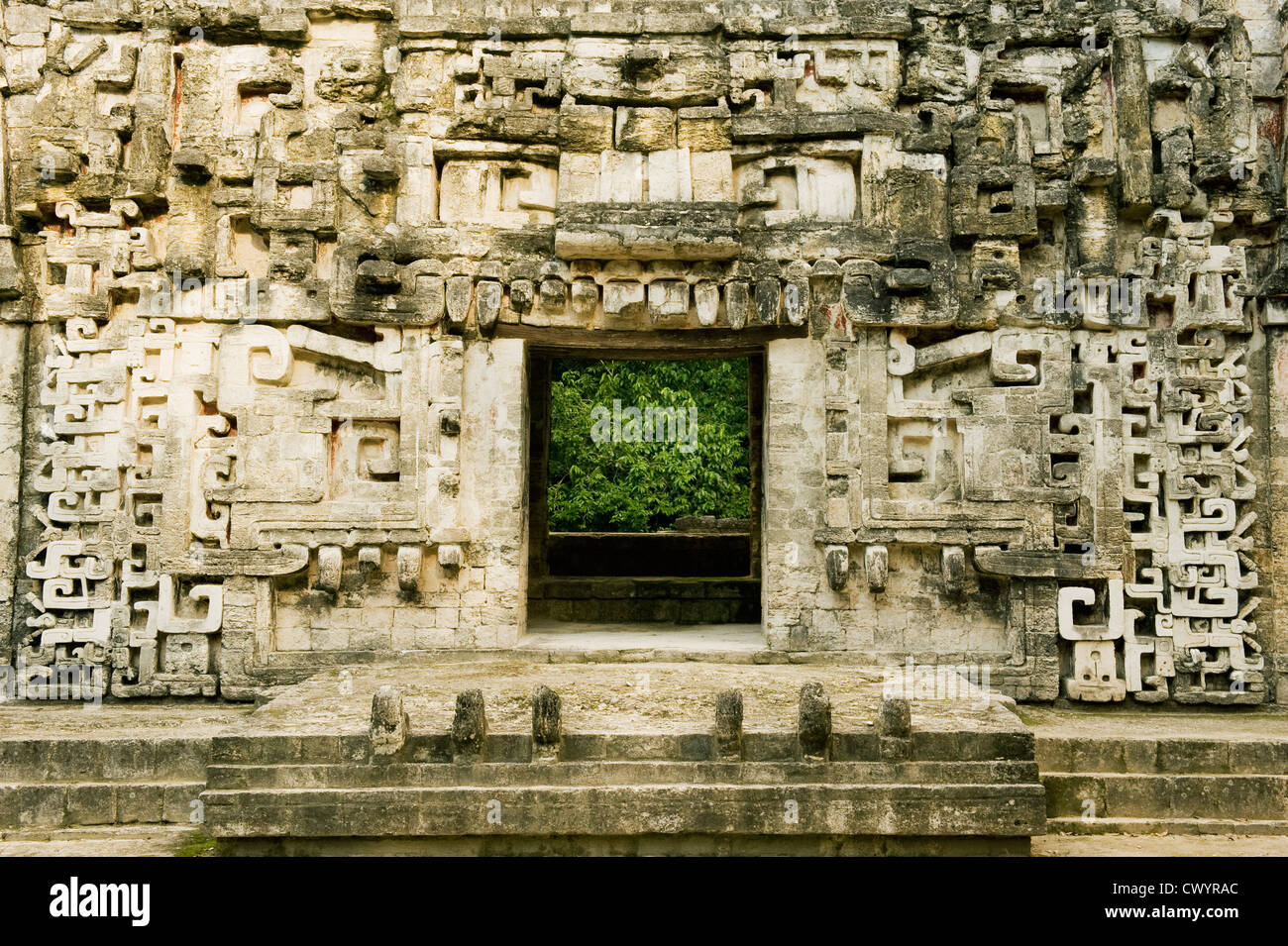Maya Ruins of Chicanná (House of the Serpent Mouth) near Calakmul Biosphere Reserve, Yucatan Peninsula MEXICO - Stock Image