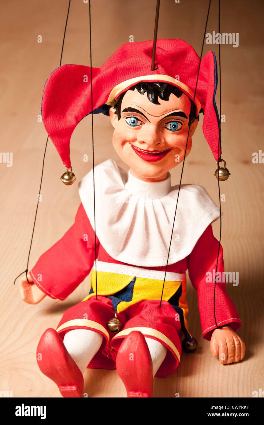 Jester or Joker wooden marionette, traditionally called