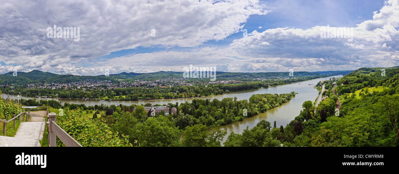 View above River Rhine at Remagen, Germany Stock Photo