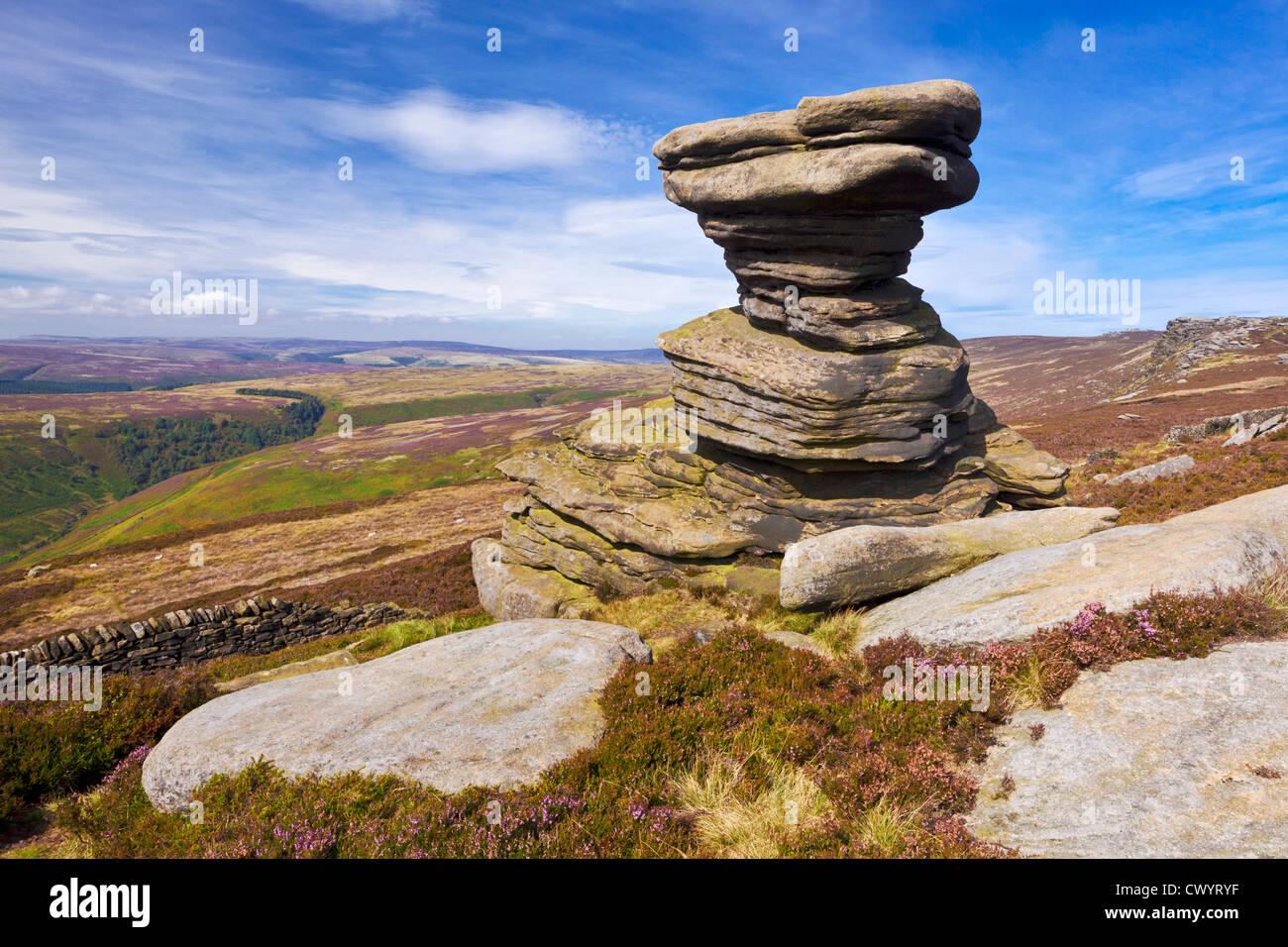 The Salt Cellar rock formation Derwent Edge Peak District National Park Derbyshire  England UK GB EU Europe - Stock Image
