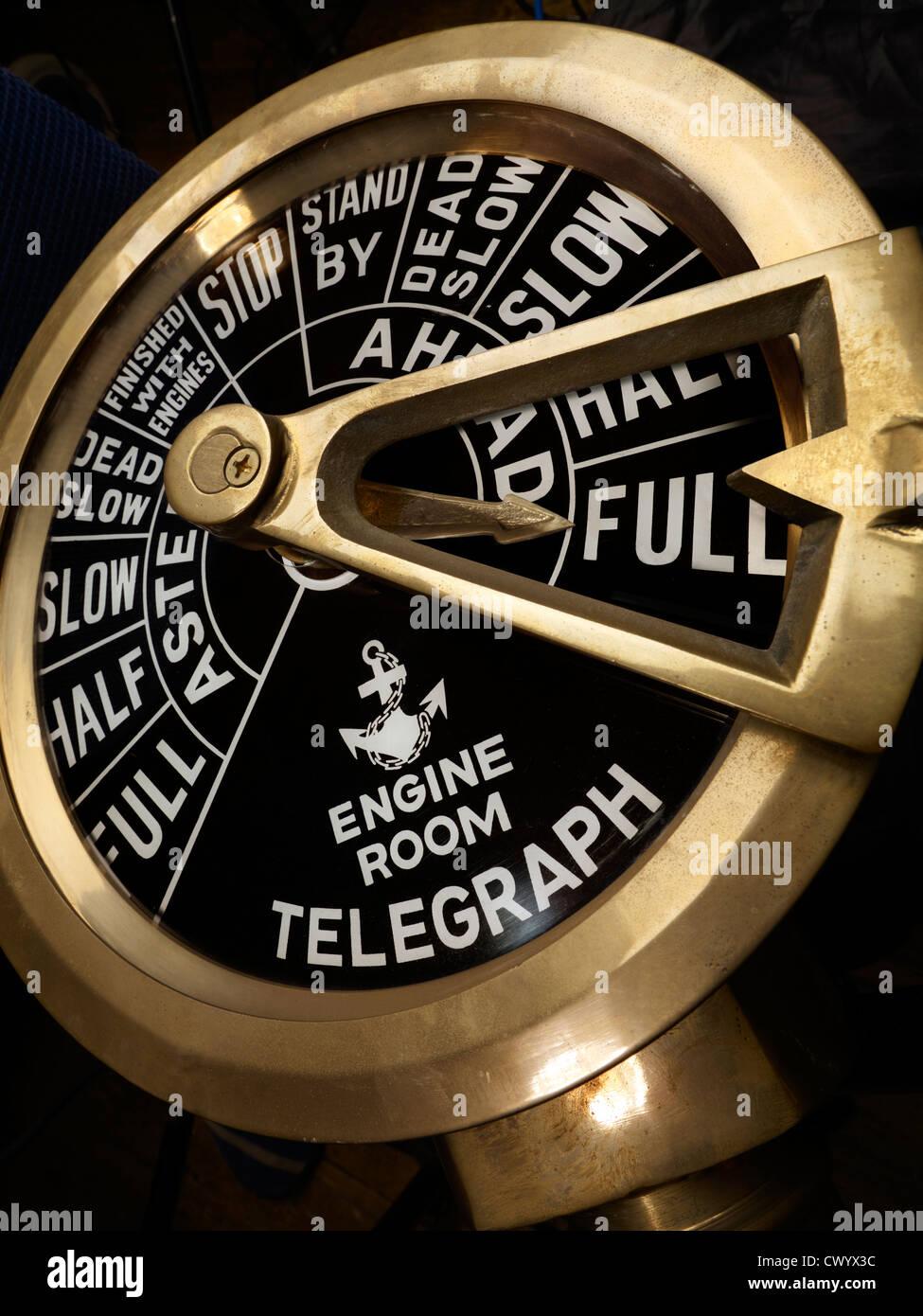 Steam Ship Engine Room: Full Steam Ahead, A Brass Ship's Telegraph In The Full