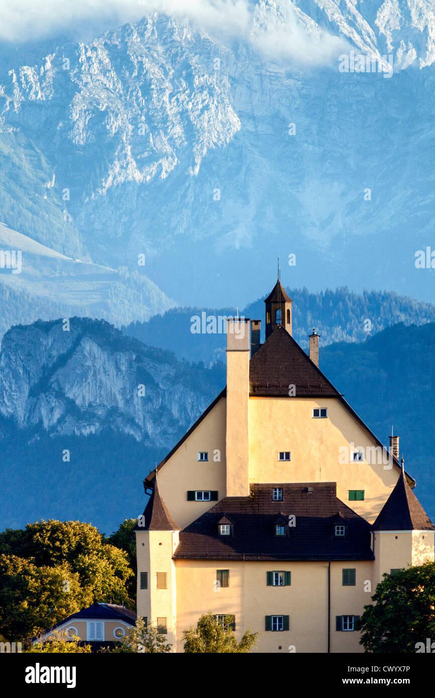 Goldenstein Castle in front of Hoher Goell, Elsbethen, Austria Stock Photo