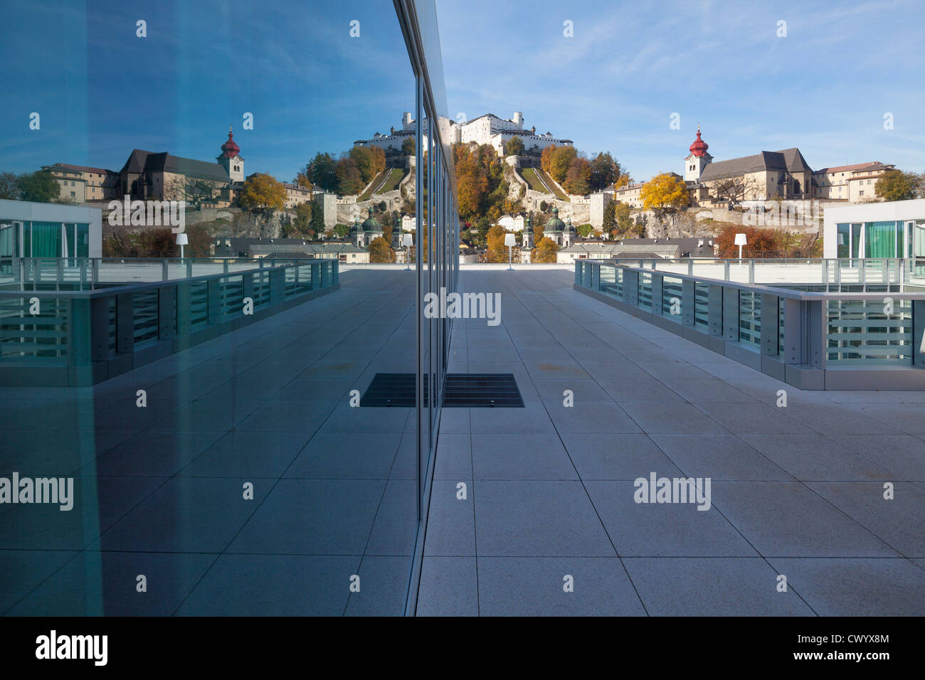 View from the roof terrace of the Unipark Nonntal, Salzburg, Austria Stock Photo