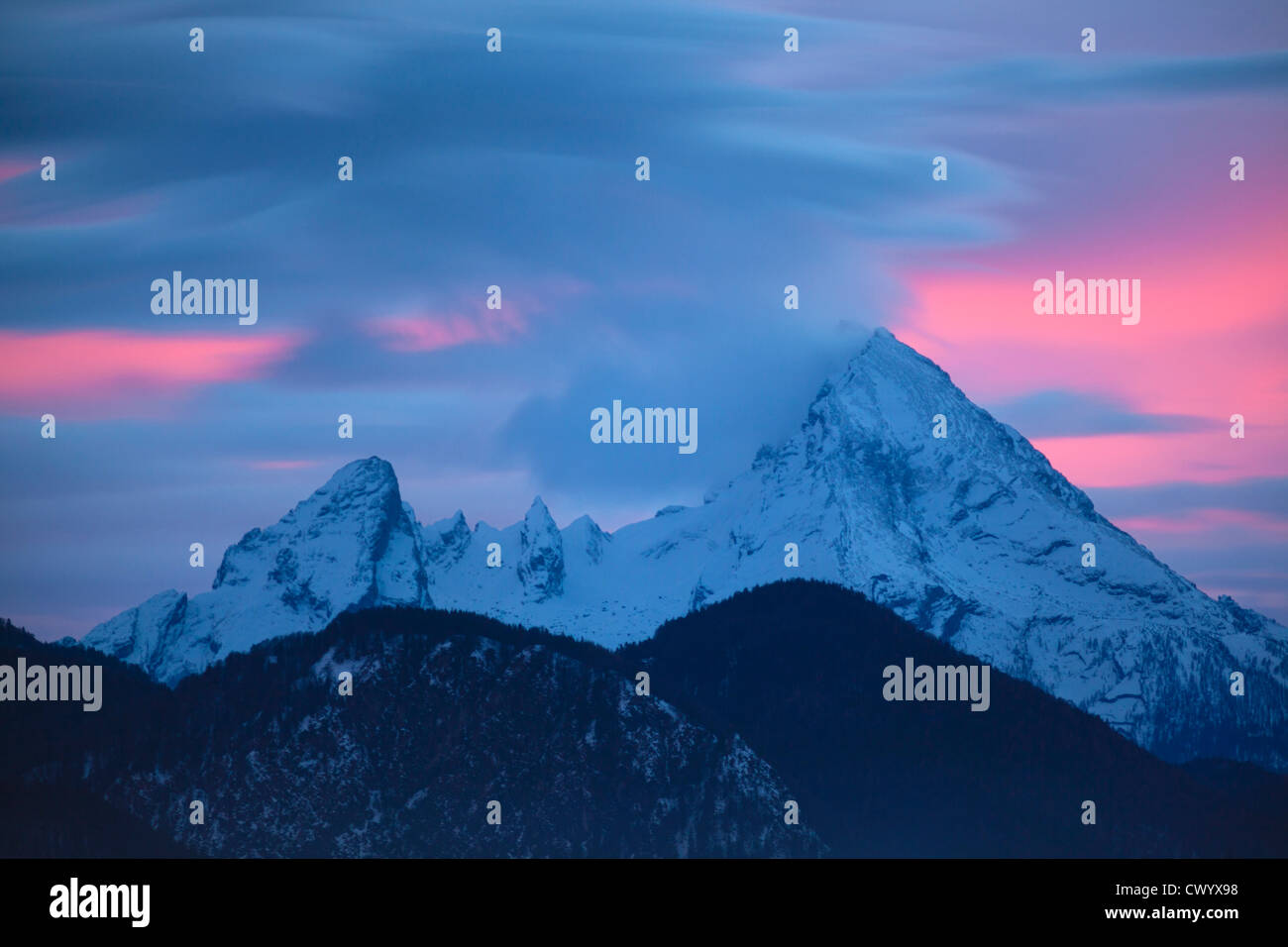 Afterglow above the Watzmann, Berchtesgaden Alps, Bavaria, Germany - Stock Image