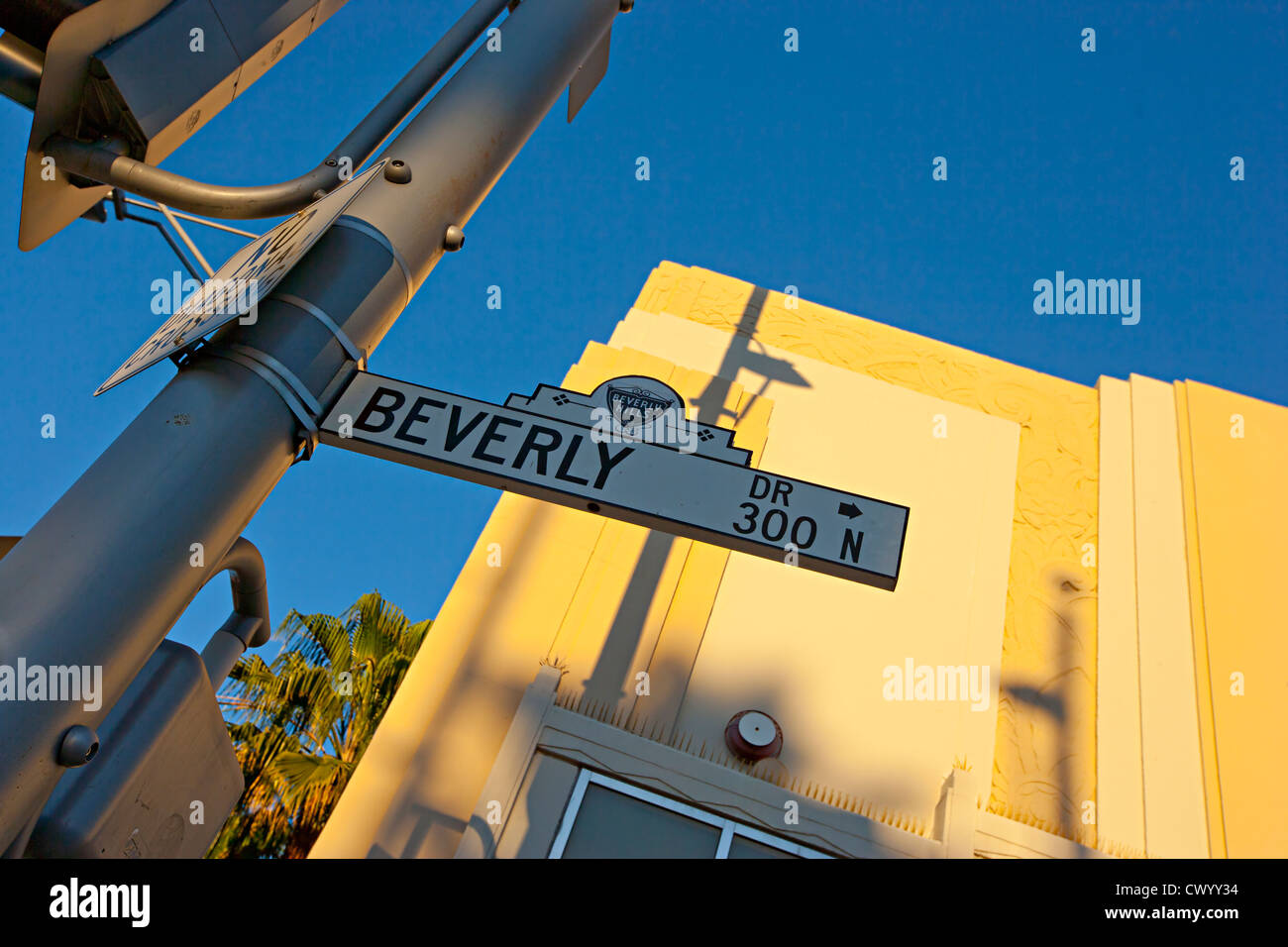 beverly hill road sign LA USA - Stock Image