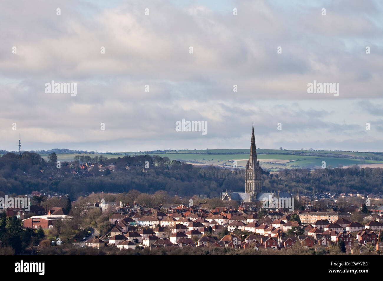 A view of Salisbury and the Cathedral taken from Laverstock Down Stock Photo