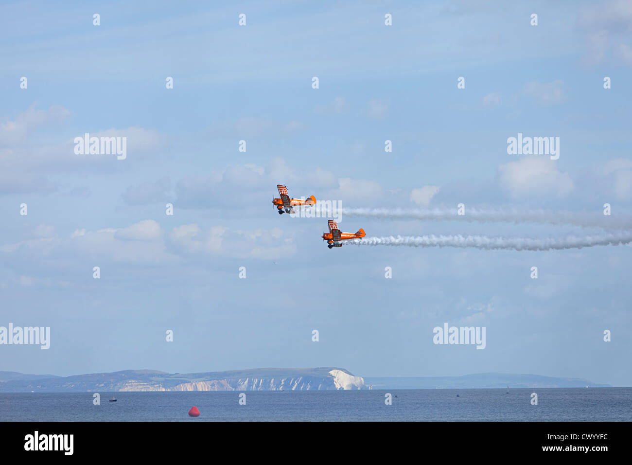 Breitling Wingwalkers, Boeing Super Stearman airplane model 75 bi plane at Bournemouth air show 2012 - Stock Image