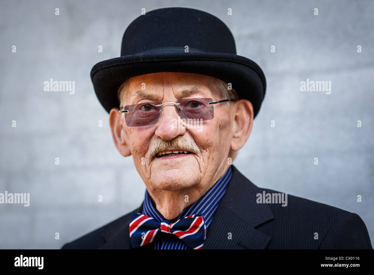 Portrait of elderly Dane with bowler hat,  Denmark - Stock Image