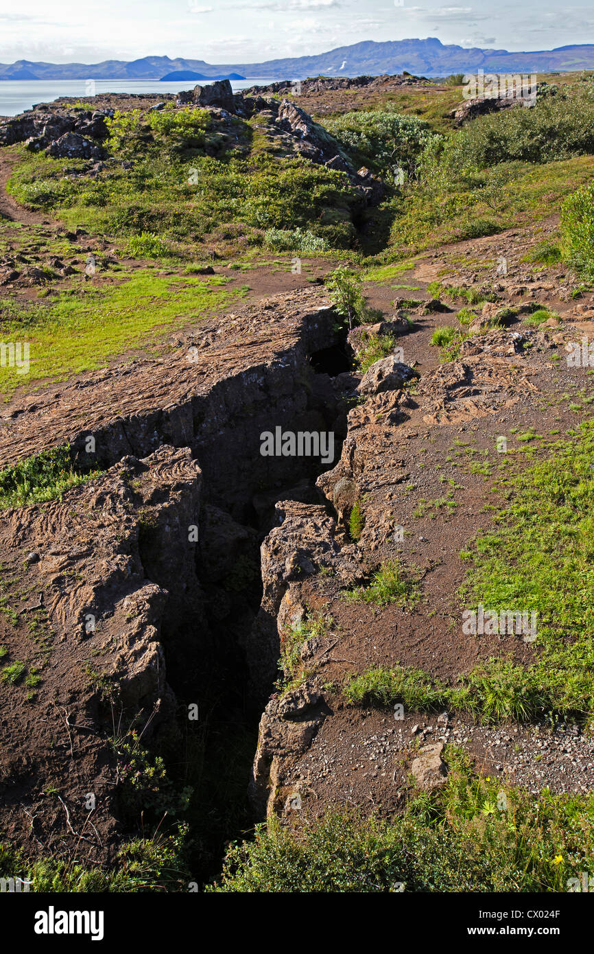 A continental drift fissure between the North American and the Euroasian tectonic plates, þingvellir National - Stock Image