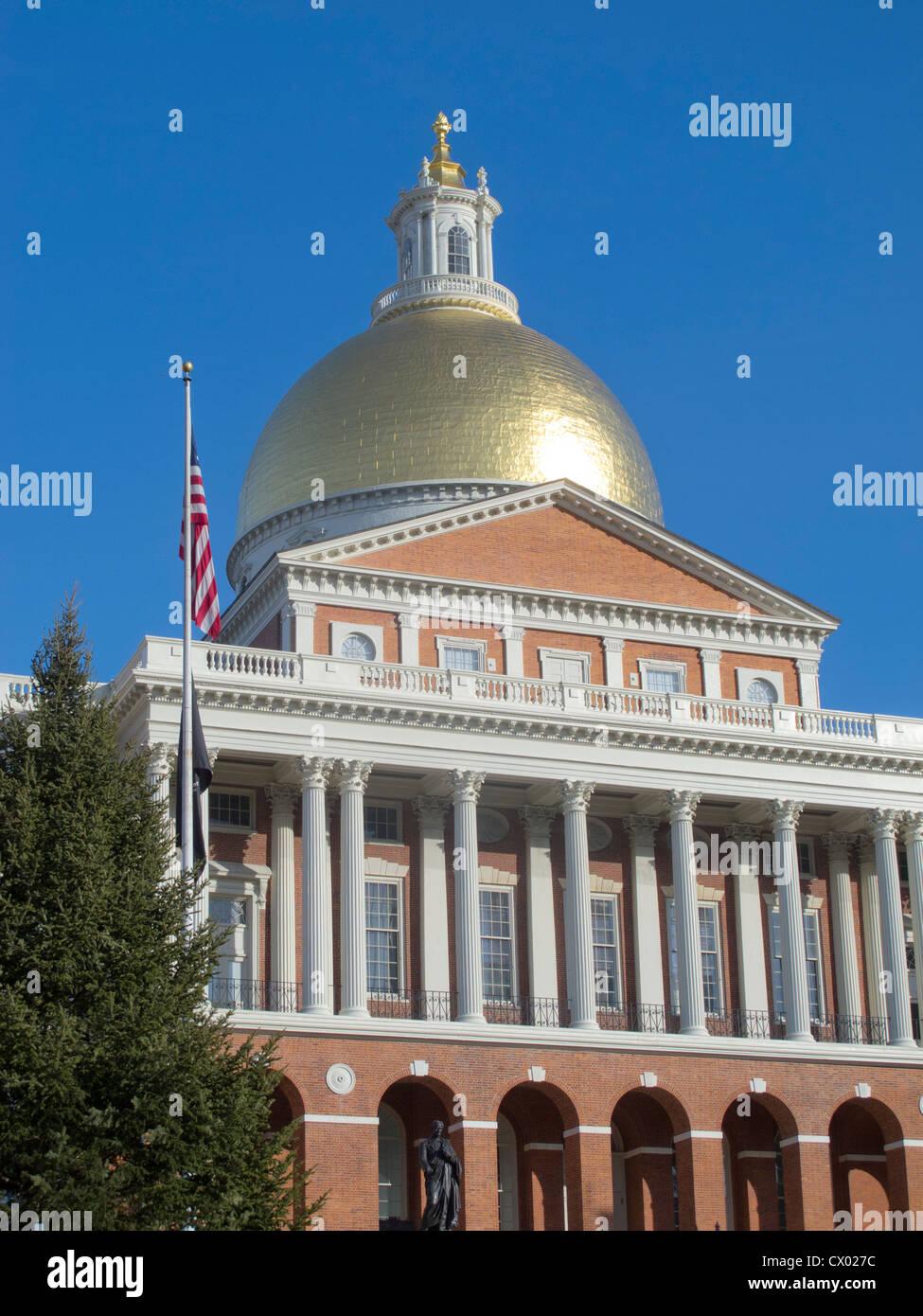 Massachusetts State House on Beacon Street in Boston Stock Photo
