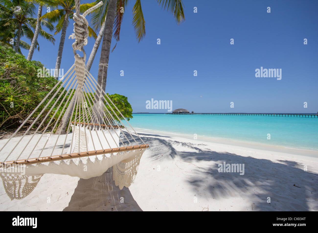 Hammock at the beach - Maldives - Stock Image