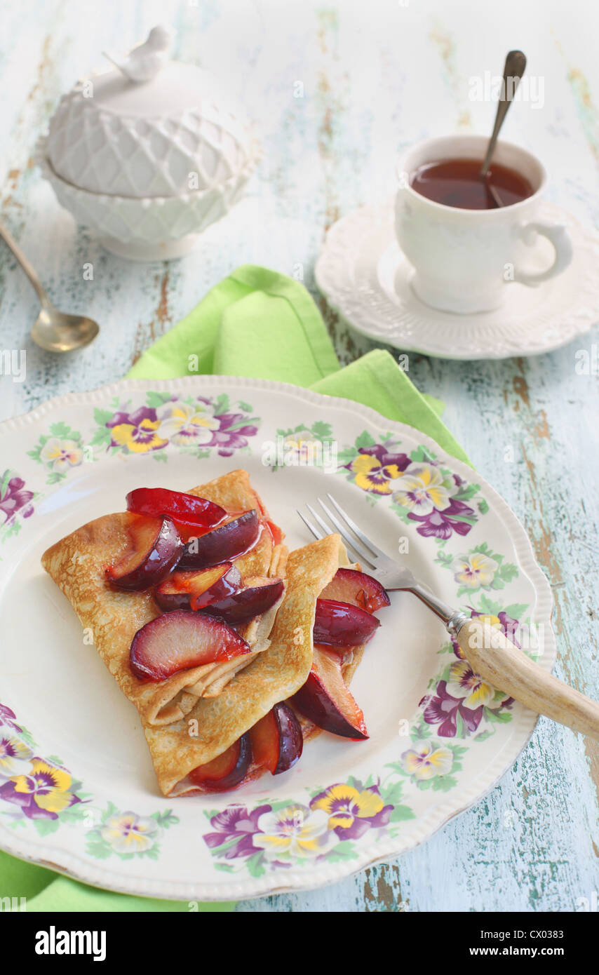 Pancakes with homemade fresh plum`s confiture - Stock Image