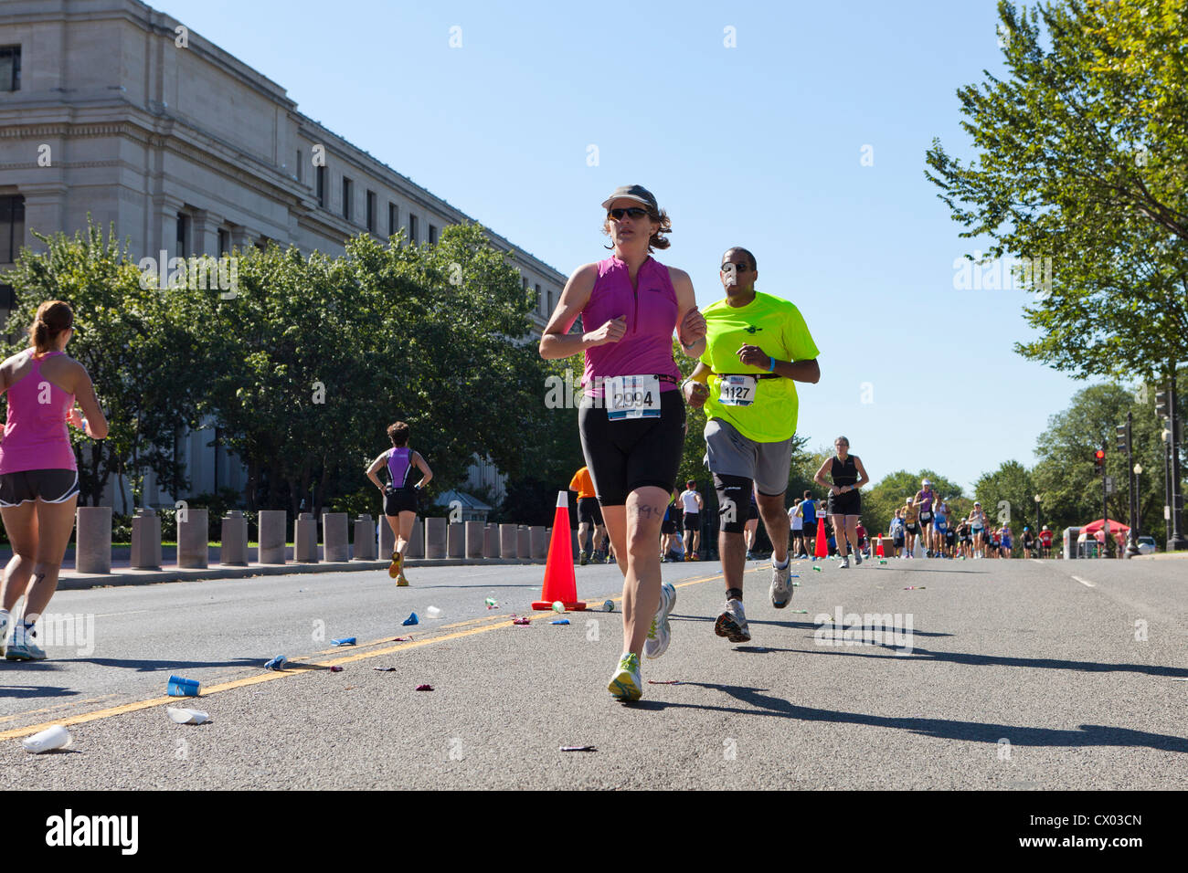 People running in a marathon - Stock Image