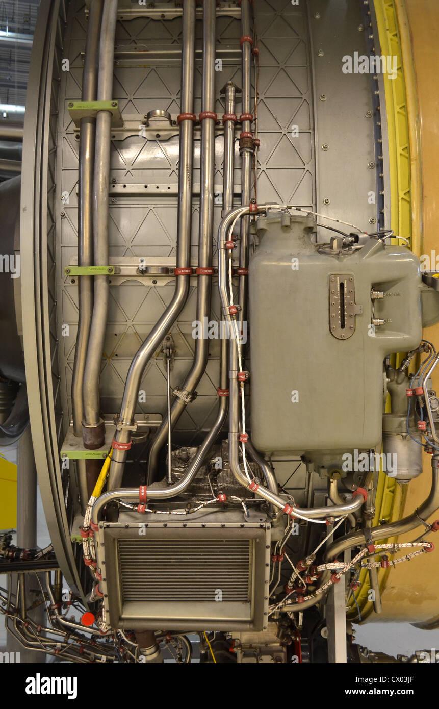 Rolls Royce Trent 800 turbofan jet engine detail close up - Stock Image