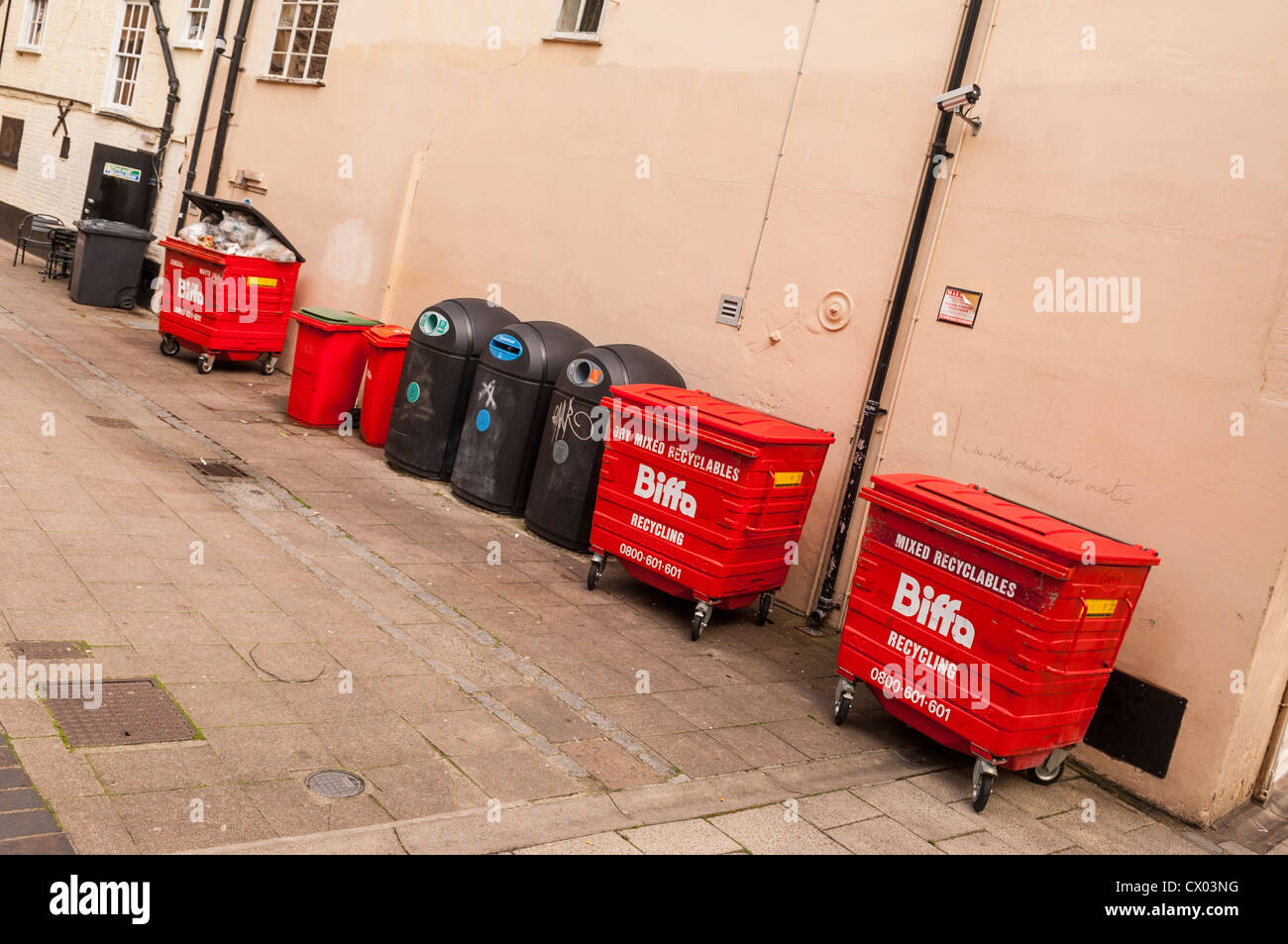 A selection of recycling and rubbish bins in the Uk - Stock Image
