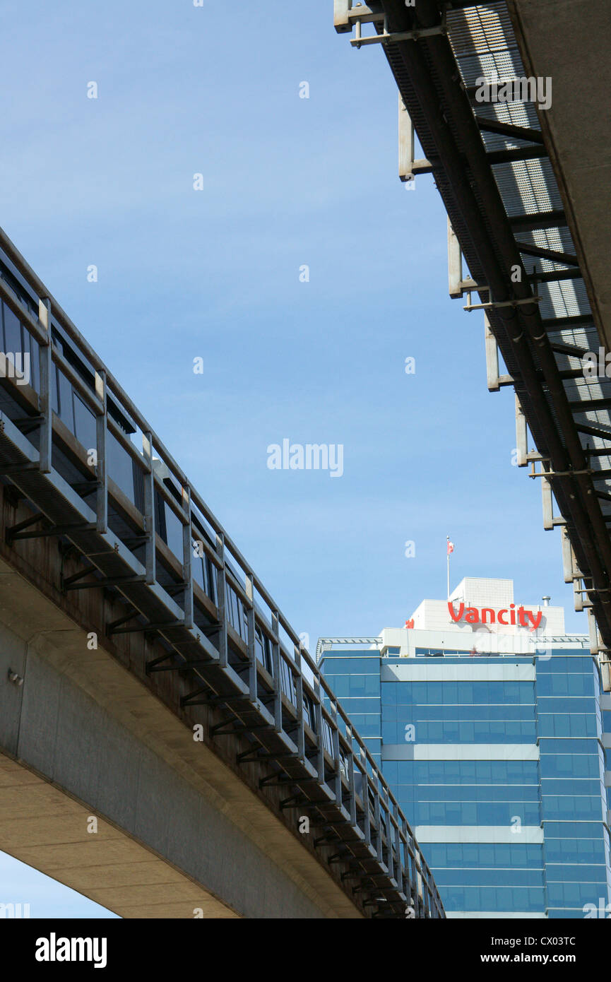The SkyTrain elevated public transportation system in Vancouver, British Columbia, Canada - Stock Image