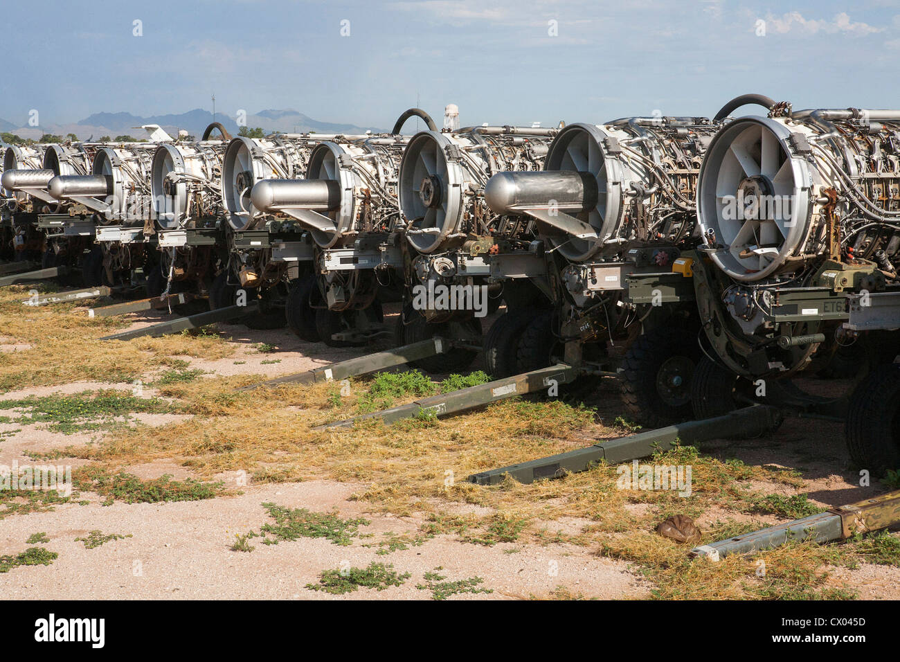 Surplus jet engines in storage at the 309th Aerospace Maintenance and Regeneration Group at Davis-Monthan Air Force - Stock Image