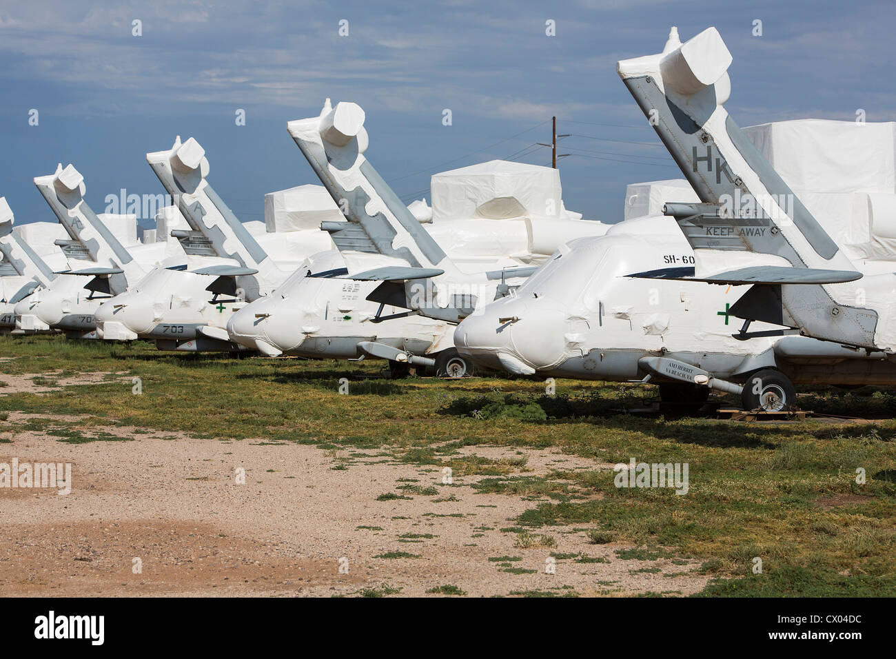 SH-60 Seahawk helicopters in storage at the 309th Aerospace Maintenance and Regeneration Group at Davis-Monthan - Stock Image