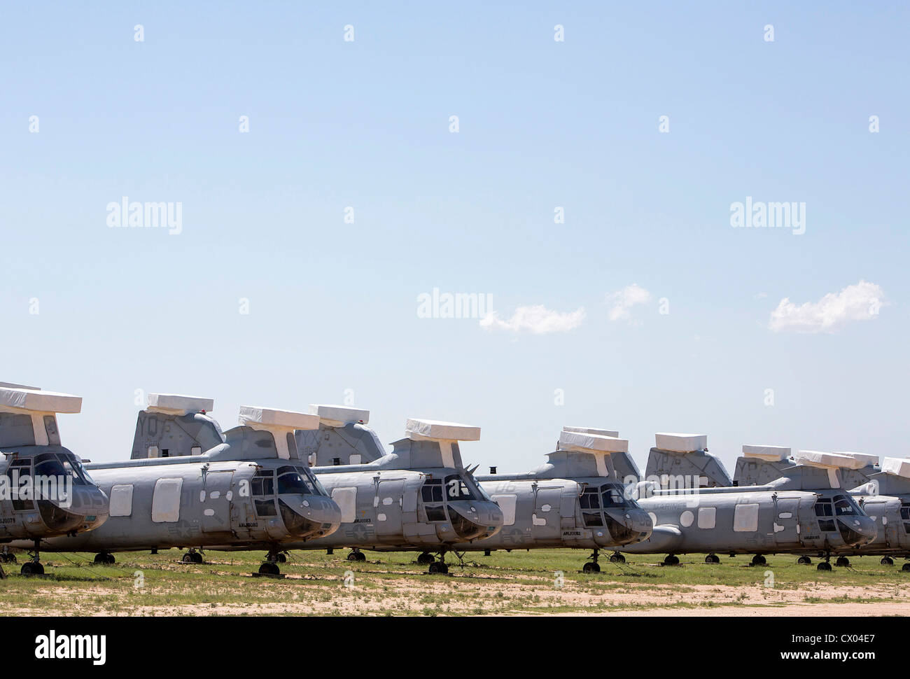 CH-46 Sea Knight helicopters in storage at the 309th Aerospace Maintenance and Regeneration Group at Davis-Monthan - Stock Image