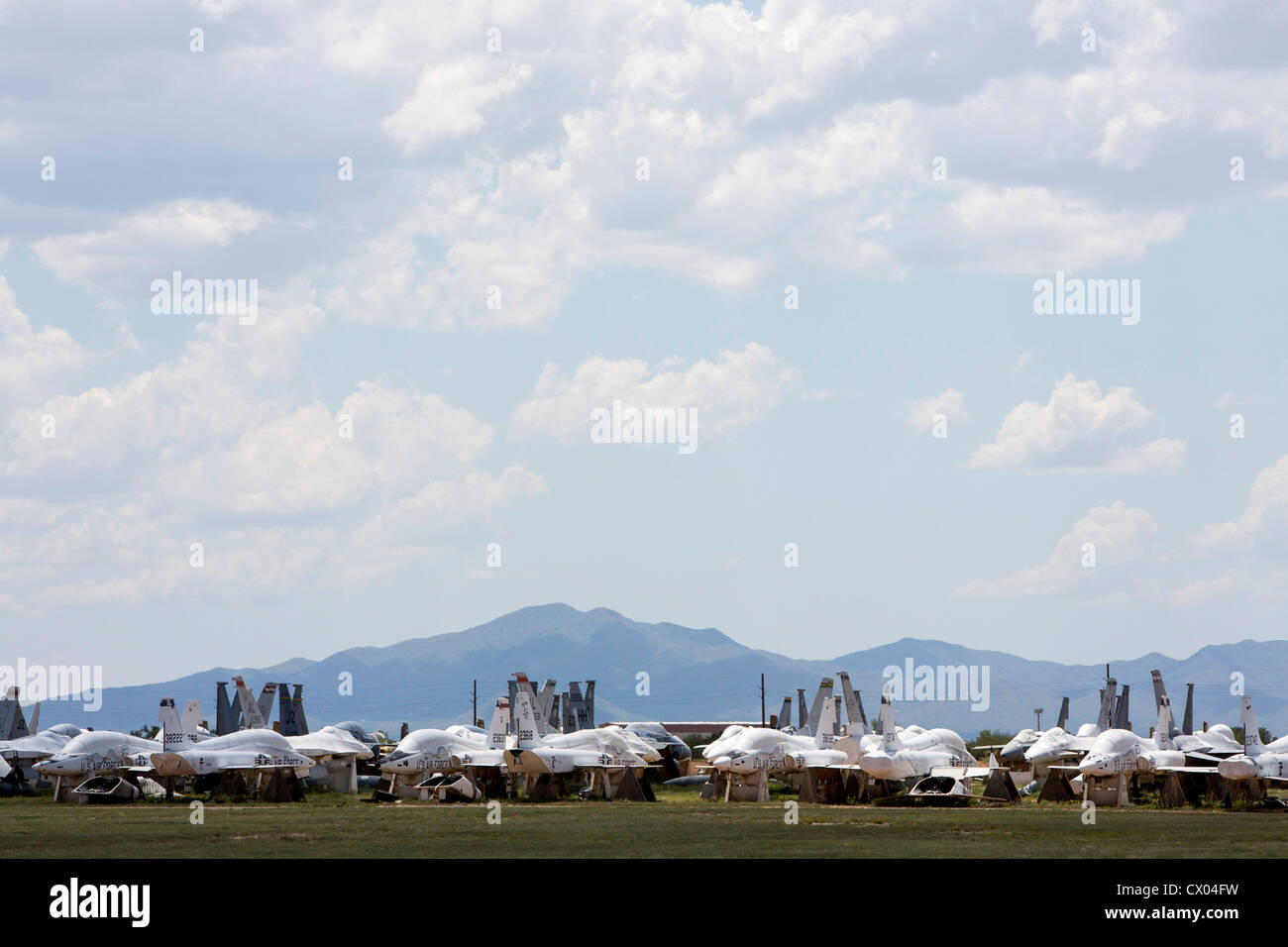 Military aircraft in storage at the 309th Aerospace Maintenance and Regeneration Group at Davis-Monthan Air Force - Stock Image