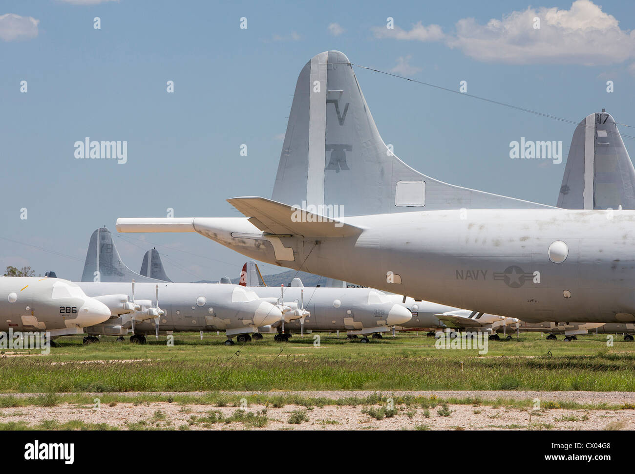 P-3 Orion aircraft in storage at the 309th Aerospace Maintenance and Regeneration Group at Davis-Monthan Air Force Base. Stock Photo