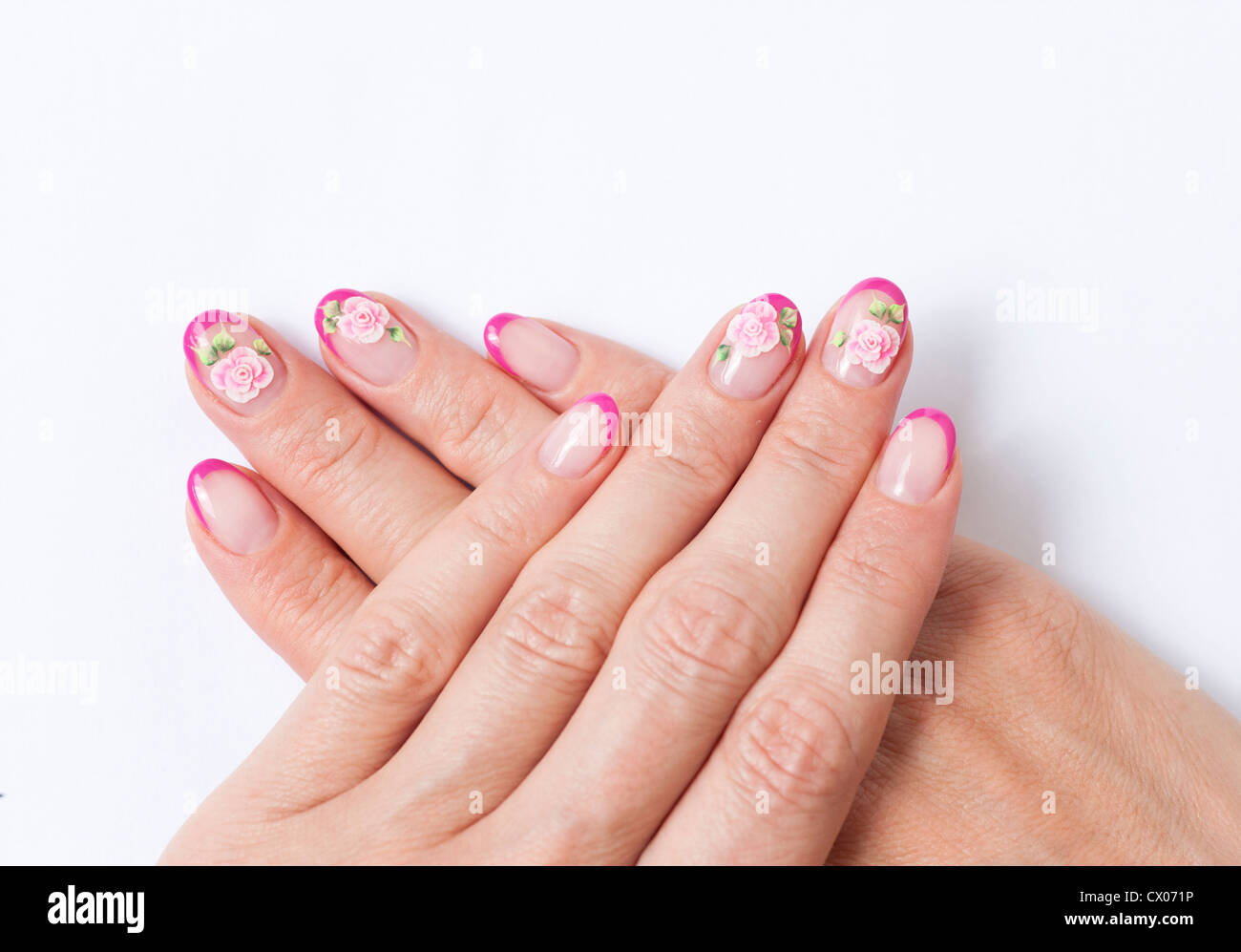 Manicured nails with nail art Stock Photo: 50407330 - Alamy