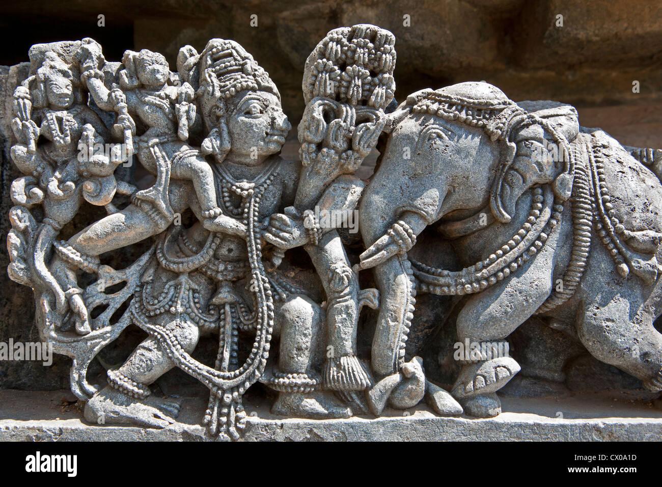 Stone carvings hoysaleswara temple halebidu karnataka