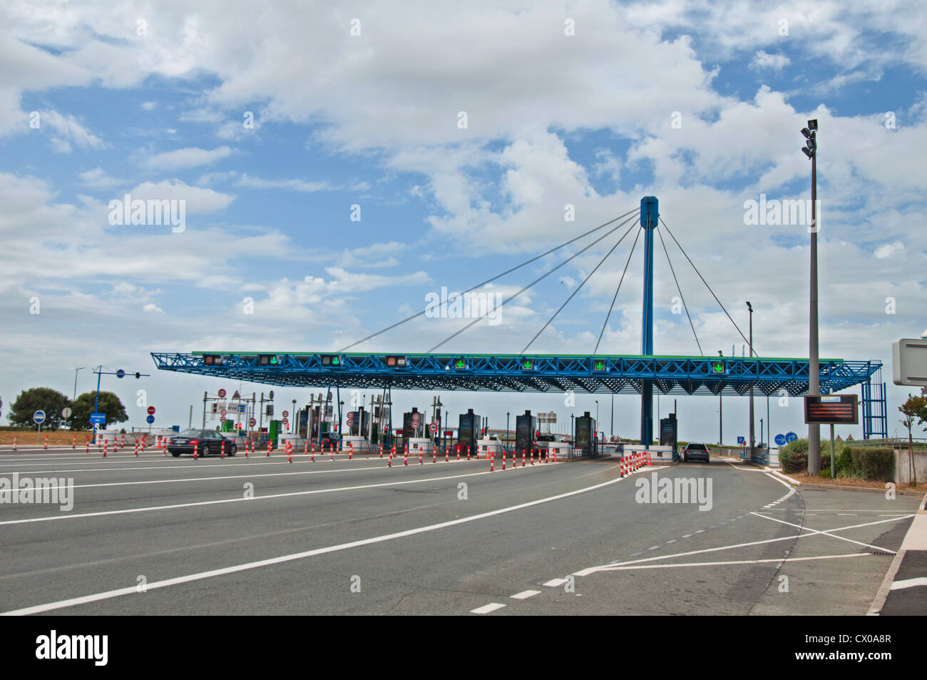 Île de Ré crossing toll booth, Charente-Maritime, Poitou-Charentes, France. - Stock Image
