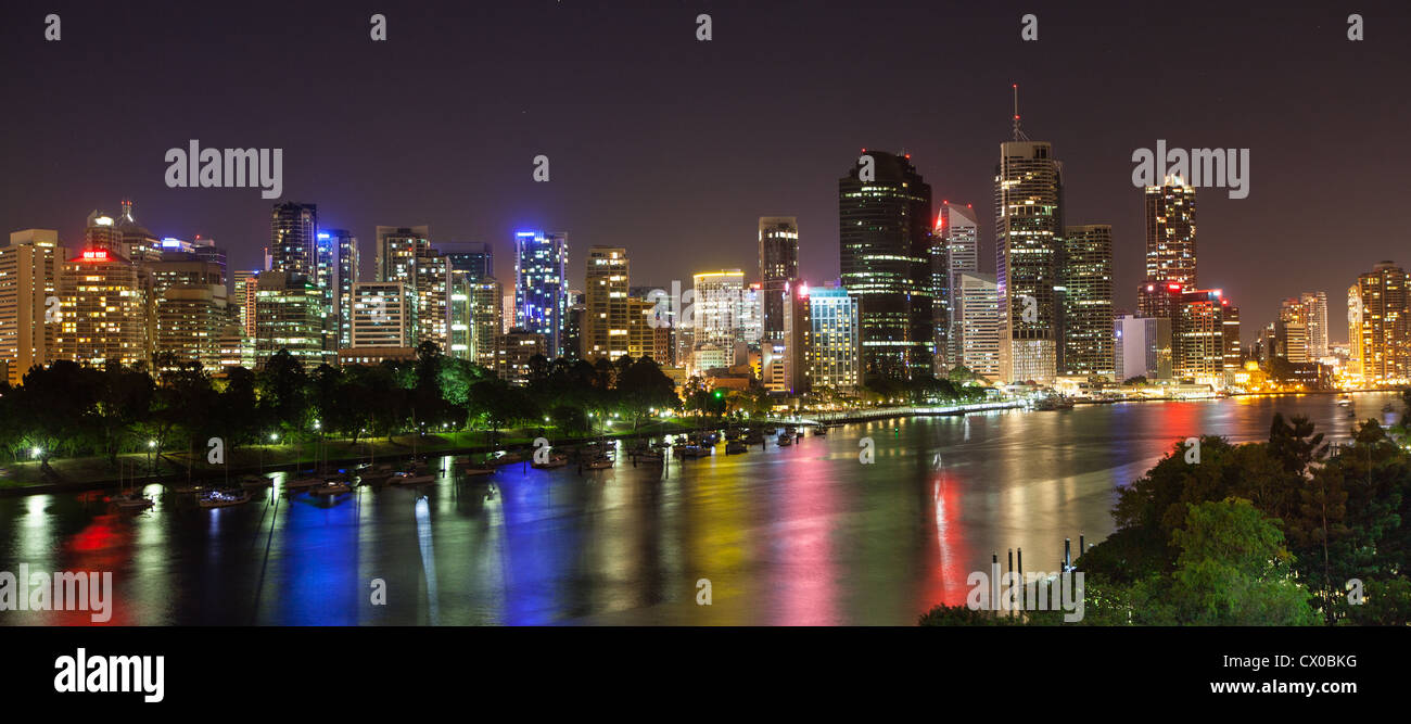 Brisbane Skyline and River at Night from Kangaroo Point - Stock Image