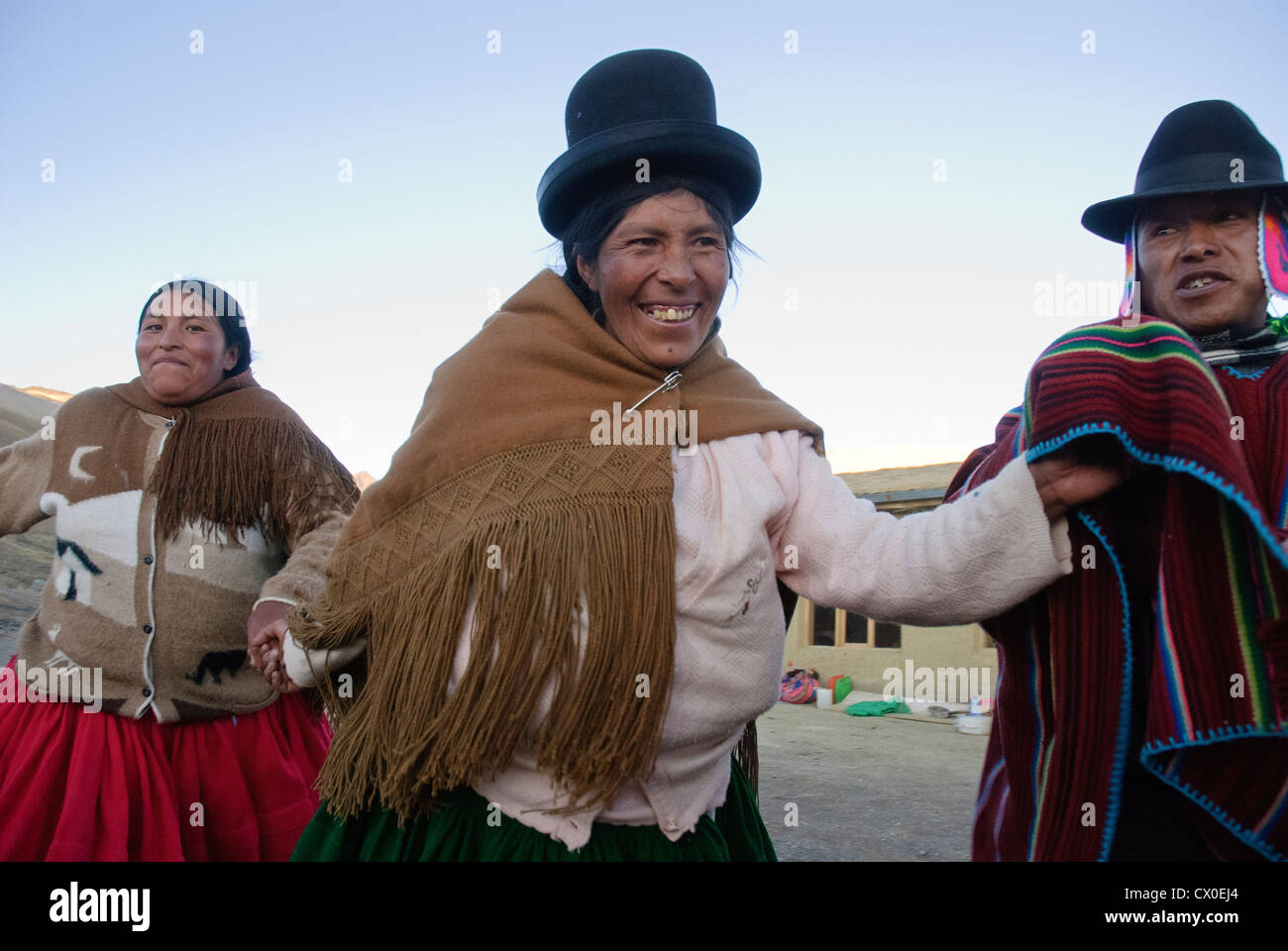 Dancing in the Cordillera Real of the Andes - Stock Image