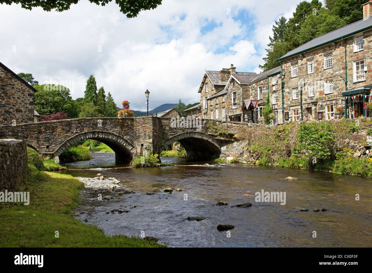 Village of Beddgelert and River Colwyn , Snowdonia National Park, Gwynedd, North Wales, UK - Stock Image