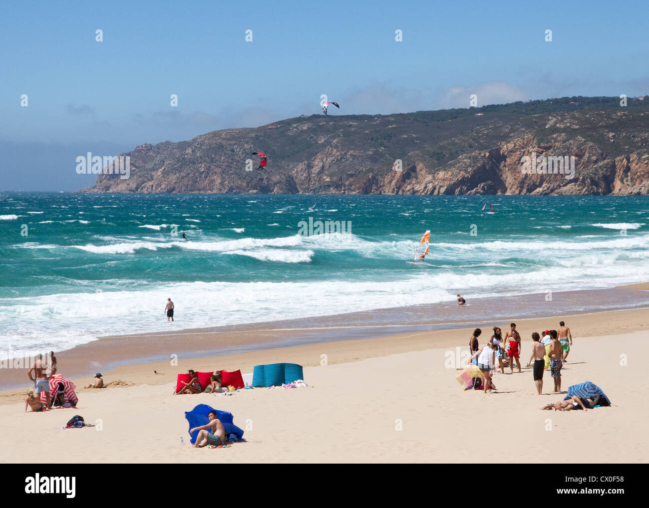 Windy day on Guincho beach, Cascais, Lisbon Coast, Estremadura, Portugal Stock Photo
