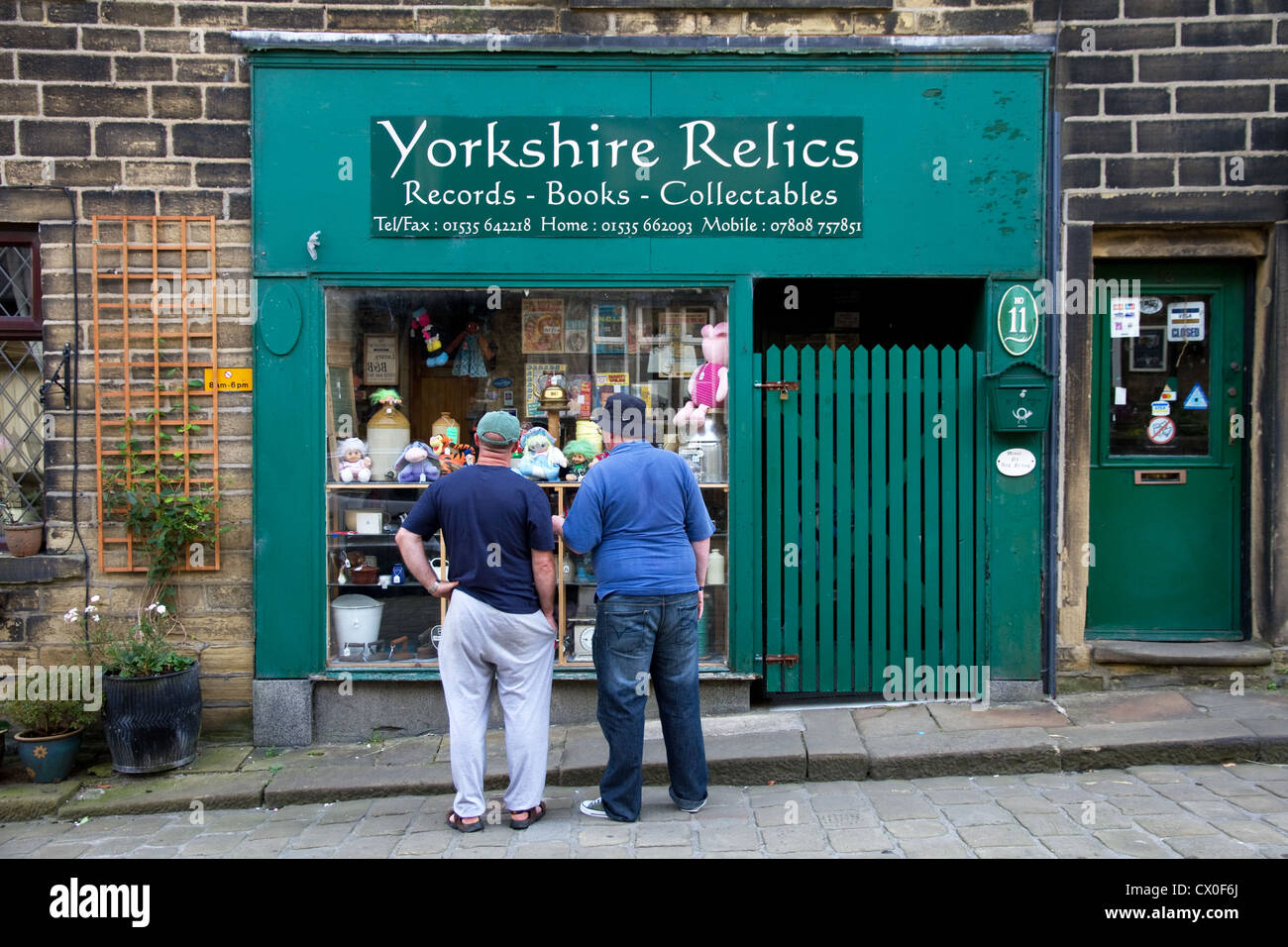 Yorkshire Relics -  and Second hand shop, Main Street, Haworth, West Yorkshire, England, UK - Stock Image