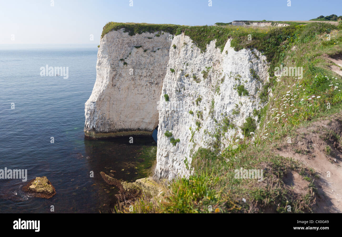 The Old Harry Rocks are chalk formations, located at Handfast Point, on the Isle of Purbeck in Dorset, southern Stock Photo