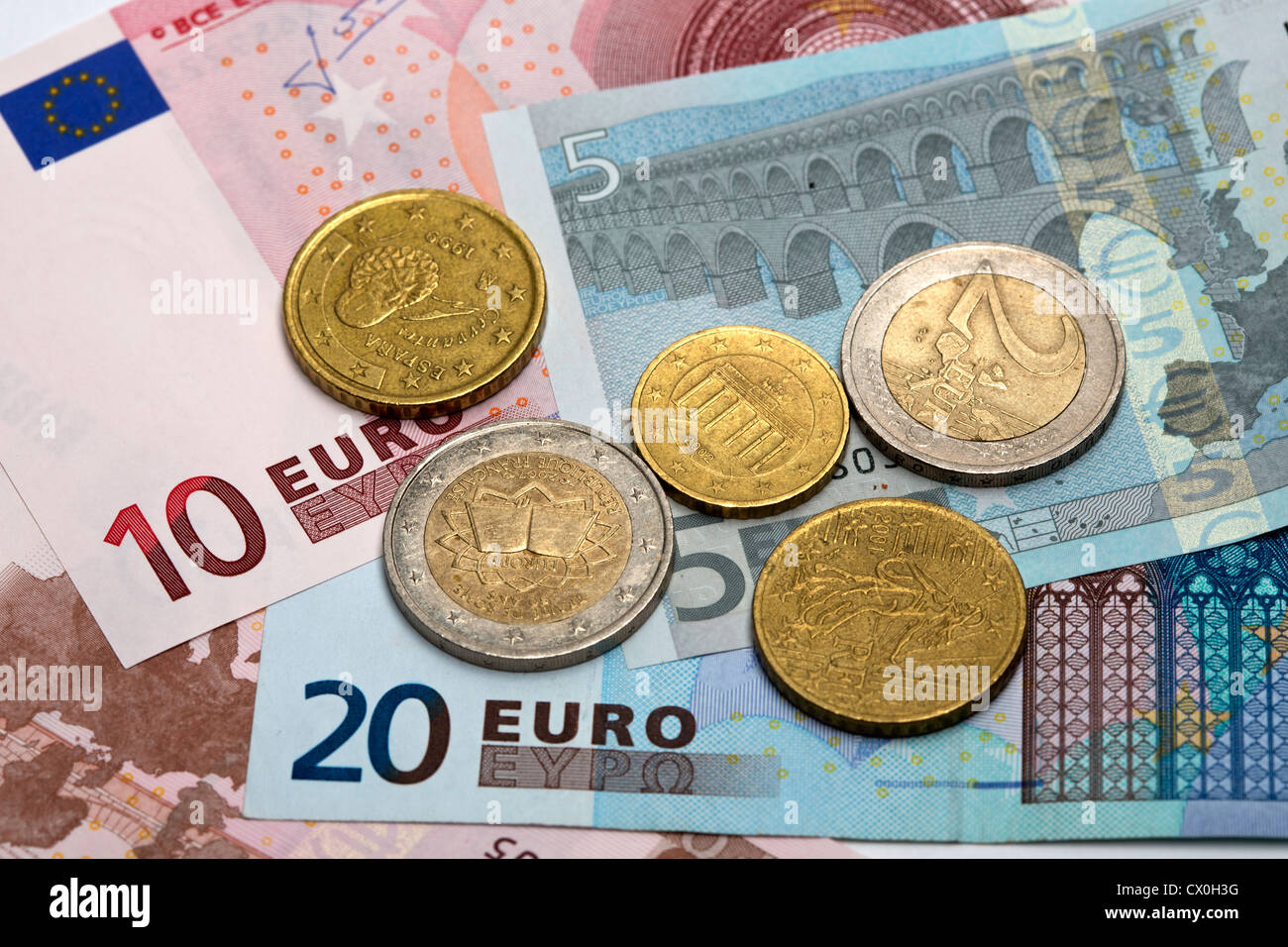 Euro Bank notes and  coins - Stock Image