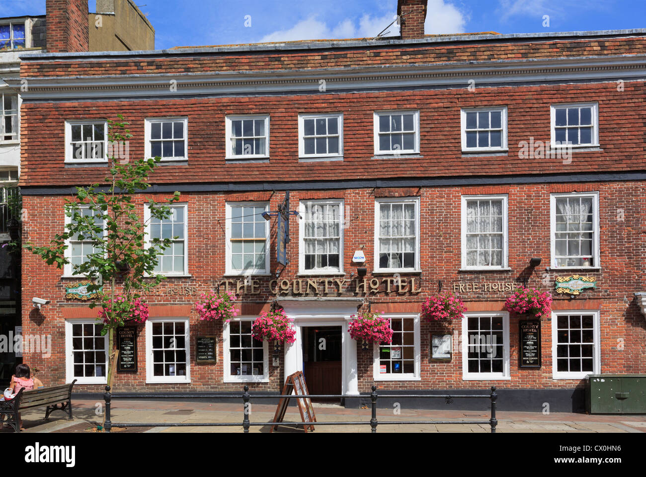 Wetherspoon's free house pub in former County Hotel building in the town centre of Ashford, Kent, England, UK, - Stock Image