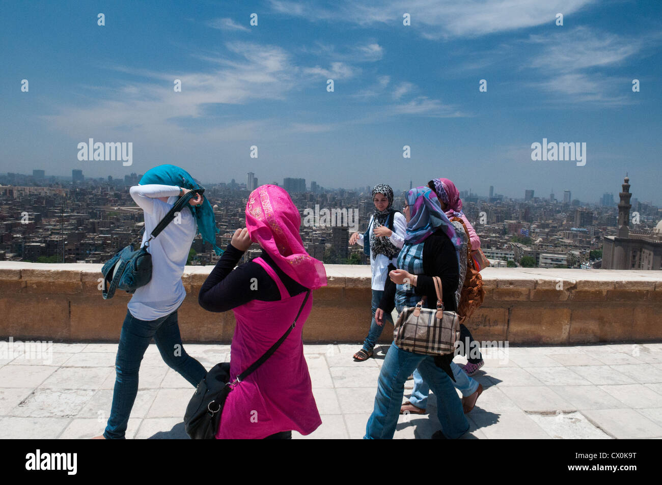 Group of young egyptian women at Citadel Cairo Egypt - Stock Image
