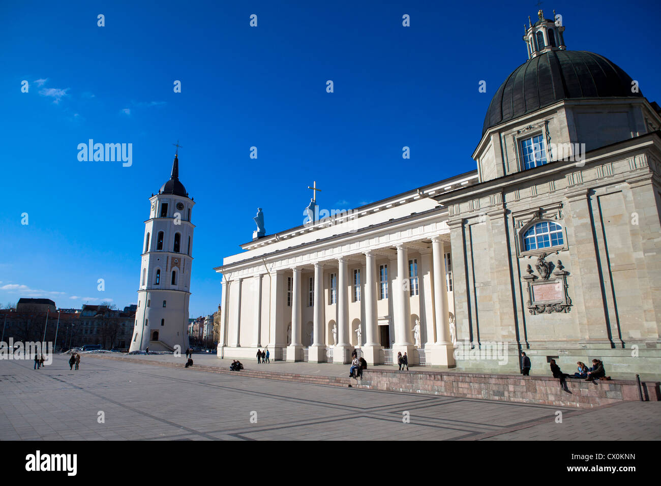 Cathedral square Vilnius Lithuania - Stock Image