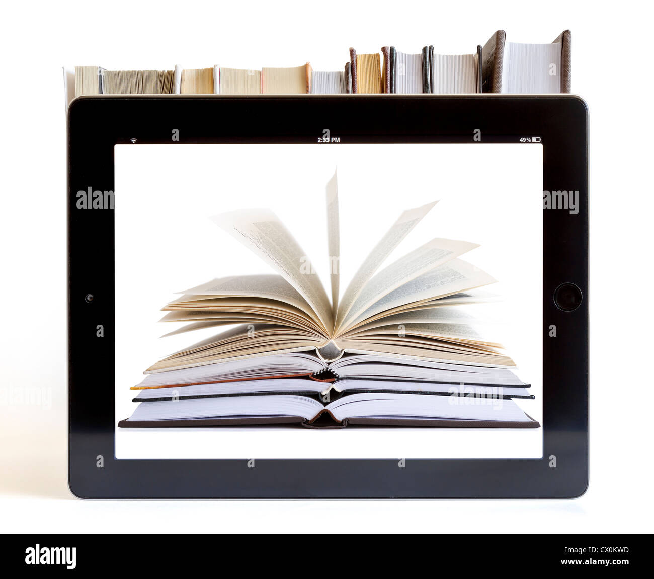 Books and tablet computer isolated on white, digital library concept - Stock Image