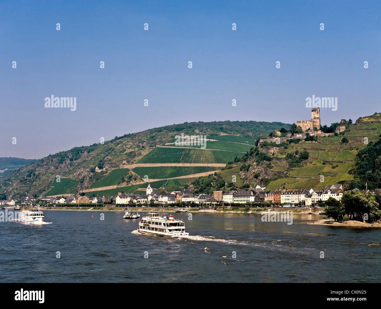 8217. Kaub, Pfalz Castle & R Rhine, Germany, Europe Stock Photo