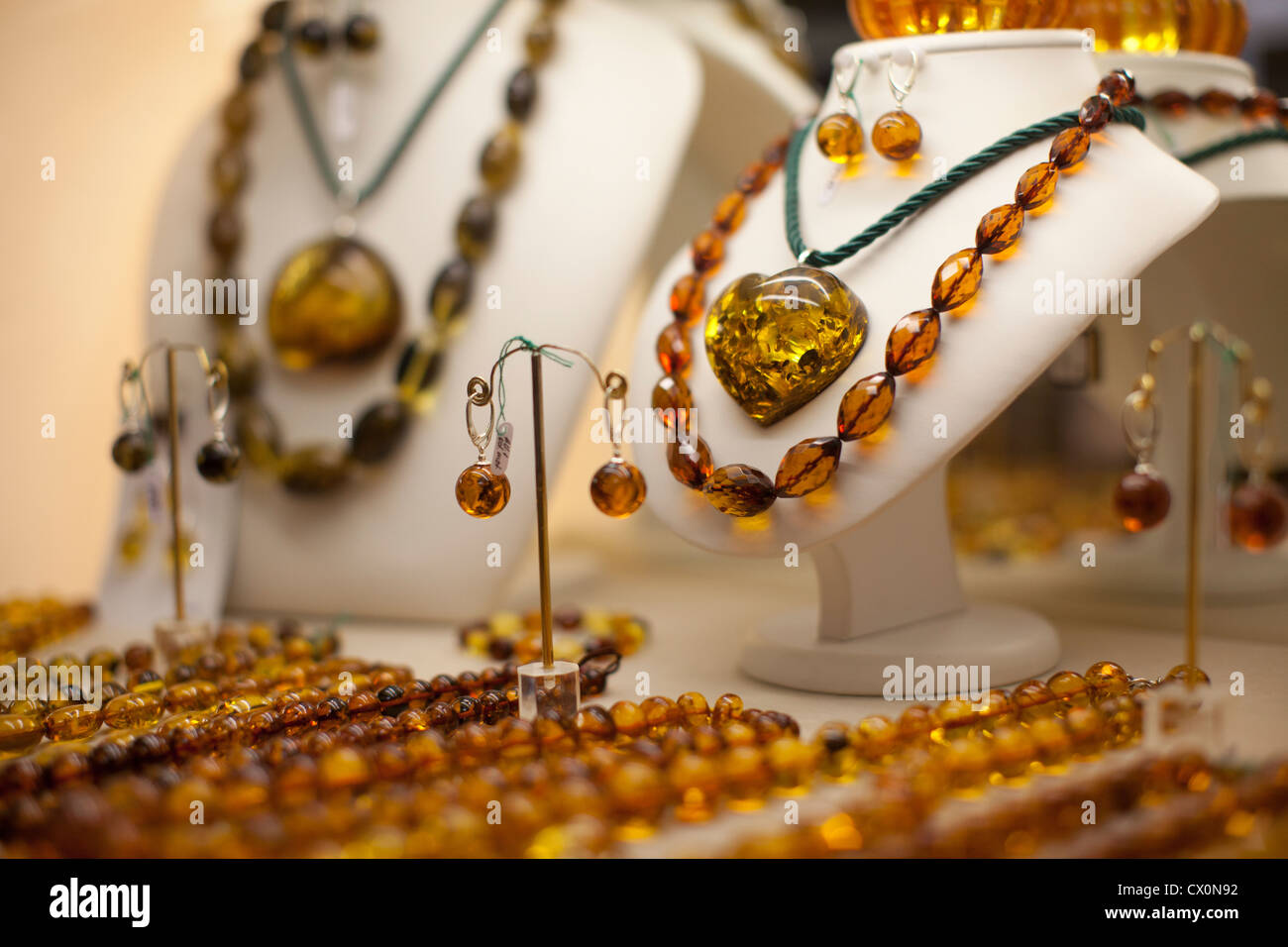 Amber Jewellery Vilnius Lithuania - Stock Image